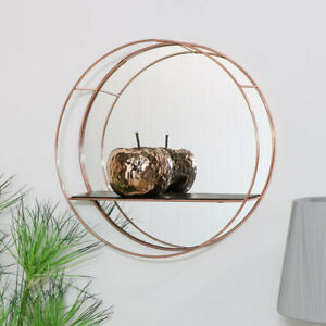 Round copper metal wall shelf mirror display shelving modern contemporary decor