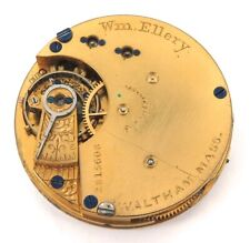 RARE ONLY 18,086 MADE / 1886 WALTHAM Wm ELLERY 6S 11J POCKET MOVEMENT & DIAL.
