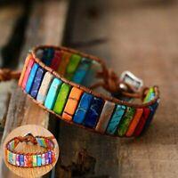 Handmade Natural Beads Leather Stone Bracelet Tube Women Chakra Wrap