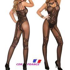 SEXY FEMME COMBINAISON Collant Lingerie Résille Noir Maille Overall Envoi France