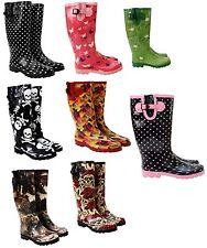 NEW WOMENS LADIES CALF ADJUSTABLE RAIN FESTIVAL RUBBER WELLIES WELLINGTON BOOTS