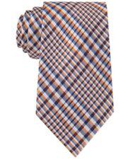Nautica Men's Galley Glen Plaid Silk Neck Tie, Orange/Blue Multi, One Size