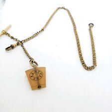 Antique Yellow gold Filled Gf Pocket Watch chain Agate Keystone masonic fob