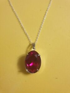 Oval Pendant crystal necklace in Ruby made with Swarovski Elements New
