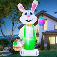 8' FT EASTER BUNNY W BASKET & EASTER EGGS AIRBLOWN INFLATABLE LIGHTED YARD DECOR