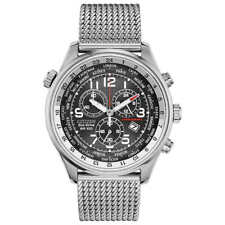 Citizen AT0361-81E Eco-Drive Black Chrono Stainless Mesh Band Men's Watch NEW ❤