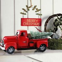 Old Red Metal Truck Christmas Ornament Kids Gifts Car Toy Xmas Table Top Decor
