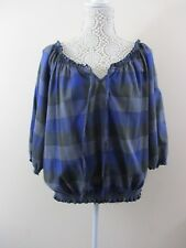 New Look top. Size 18. Blue Grey check. Ruffled scoop neck,off the shoulder