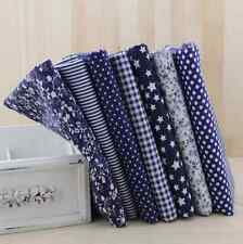 NEW 7pcs BUNDLE Navy/Blue COTTON FABRIC FLORAL DOTS STRIPE STARS quilting