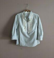 Steven Alan Women's S Cotton Blouse Popover Ruffle Striped 3/4 Sleeve Blue White