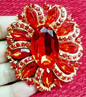 Oval Red Cystal Large Flower BROOCH Pin Badge Diamante Rhinestone Lady Gift