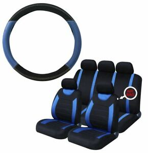 Blue & Black Steering Wheel Cover & 8 Piece Seat Cover Set Full Protection