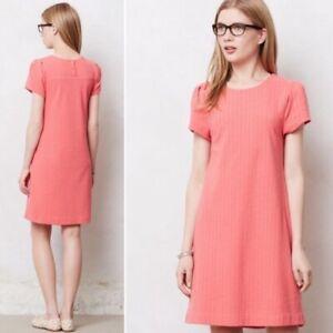 Anthropologie Maeve Coral Diamond Stitch Shift Dress XS