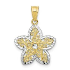 Ladies 10K Yellow Gold & Rhodium Flower Floral Filigree Charm Pendant - 20mm