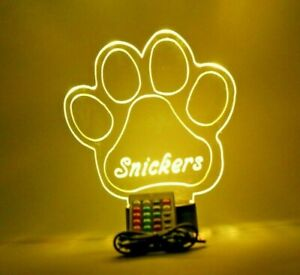 Animal Puppy Dog Paw Print Night Light Up Lamp LED Personalized Free With Remote