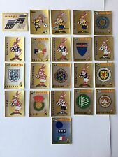 Euro 92 Panini Stickers Lot 21 Different New Badge Mascotas Complet