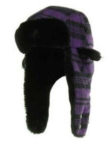 New Era Poptrap Grape Trapper Buffalo Plaid Purple Dogear Hat Cap Down Ear Flap