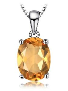 9x7 Oval Golden Citrine Sterling Silver Pendant w/Chain Necklace