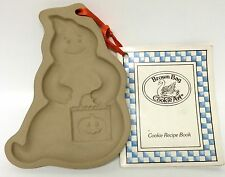 Brown Bag Cookie Art Halloween Ghost Stoneware Mold W/ Recipe Book 1990