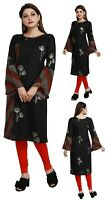 Women Indian Top Kurti Tunic Kurta Printed Shirt Dress Black Cotton EASHITA18A