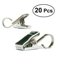20 Stück Gardinenstangen Vorhangringe Edelstahl Klammer Metall Clips Gleiter