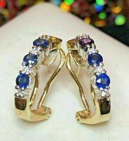 Estate 1.40 Ct Blue Sapphire & Diamond Omega Backs Earrings 14k Yellow Gold FN