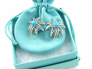 Tiffany & Co RARE Silver Turquoise Fireworks Earrings!
