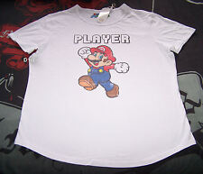 Nintendo Super Mario Player Mens White Printed Short Sleeve T Shirt Size L New