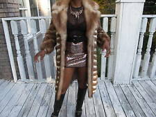 Designer Evans fitted Full Length  Stone marten Sable Fur Coat Jacket Xs-S 0-6