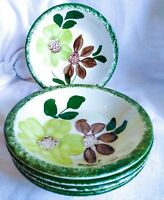 "5 pcs Vintage Blue Ridge Southern Potteries Dessert Bowls Green Briar 5.5"" USA"