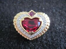 "Swarovski Swan Signed Goldtone Heart Brooch/Pin 1 1/4"" X 1"" Beautiful Mint 125"