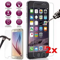 2X 9H Tempered Glass Screen Protector For Samsung S6 S7 iPhone 6 7Plus Huawei