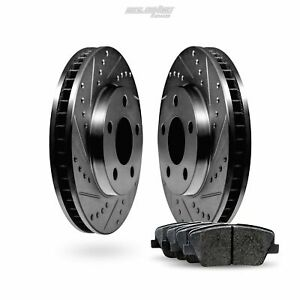 Front Black Drilled Slotted Brake Rotors and Ceramic Pads For 1962-1980 MG MGB