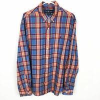 Ralph Lauren Men's XL Custom Fit Button Down Shirt Orange Blue Red Plaid Pony