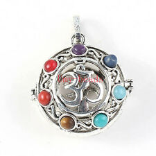 Silver OM Voice Of Universe 7 Stone Chakra Hearing Reiki Energy Locket Pendant