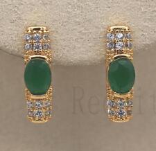 18K Gold Filled - Oval Emerald Zircon Rectangle Gemstone Wedding Hoop Earrings