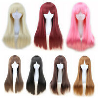 Long Wig Natural Straight Synthetic Fashion Ladies Hair Cheap Blonde Black Brown