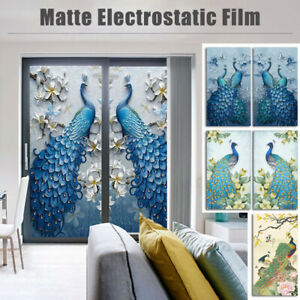 3D Peacock Static Cling Window Film Art Frosted Opaque Glass Sticker Home Decor