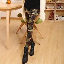 Green Camouflage Stretch Camo Pants Women Leggings Trousers