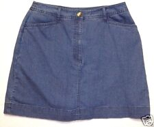Studio Works stretch denim blue jeans skorts skirt w shorts inside size 8