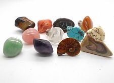 12 Assorted Polished Stone Cabinet Knobs and Drawer Pulls
