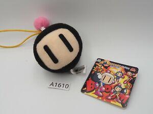 "Bomberman Head Black A1610 Mascot Strap 2"" Plush Furyu TAG Toy Doll Japan"