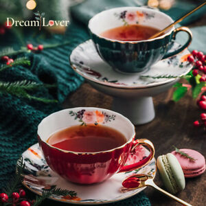 """""""Dream Lover"""" Ceramic Coffee Mug Cups with Spoon Tray Afternoon Tea Drinkware"""