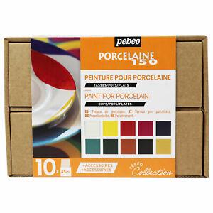 Pebeo Porcelaine 150 Céramique Peinture Collection Set 10 X 45ml & Accessoires