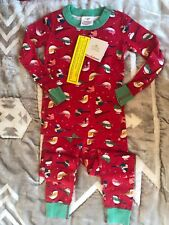 Hanna Andersson Organic Long John Pajamas Red Snow Birds 90 3T NWT New