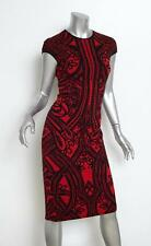 ALEXANDER McQUEEN Red+Black Knit Floral Cap-Sleeve Bodycon Dress M NEW NWT $995