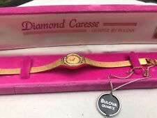 Vintage Diamond Caresse Quartz By Bulova Watch In Original Pink Velvet Box