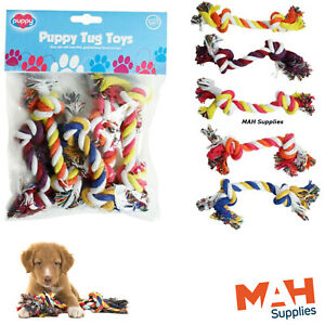 Puppy Tug Ropes 5 Pack Tug Toy Knotted  Puppy Tug Toy Set