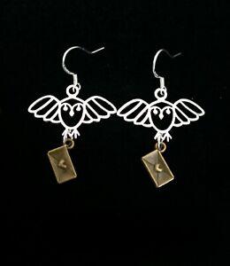 Owl post love letter earrings. Sterling silver 925 earring hooks. Gift boxed.