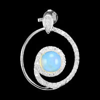 8mm Natural Round Rainbow Fire Blue Opal &  White Cz 925 Solid Silver Pendant